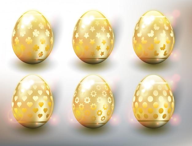 Ensemble de 6 oeufs de pâques de couleur. oeufs de pâques en or. isolé sur le panneau blanc.