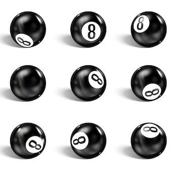 Ensemble de 8 balles réalistes. isolé sur un blanc