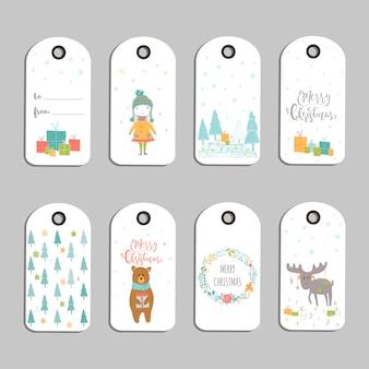 Ensemble de 8 jolies étiquettes-cadeaux de noël, cartes avec lettrage joyeux noël, animaux, préréglages, arbre et flocons de neige. modèle modifiable facile. illustration parfaite pour carte postale, affiche, badge, bannière.