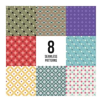 Ensemble de 8 motifs pixelés colorés. style enfantin. utile pour l'emballage et la conception textile.