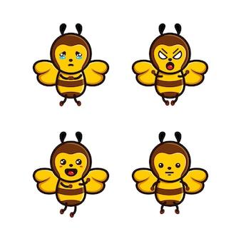 Ensemble d'abeille de caractère mignon