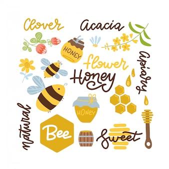 Ensemble d'abeille, éléments de miel, nid d'abeille, pot, modèle et autre lettrage apicole. illustration dessinée à la main plate.