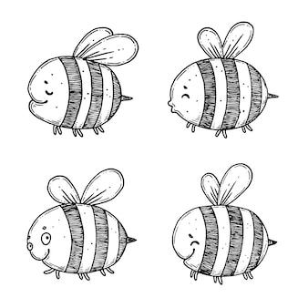 Un ensemble d'abeilles de dessin animé