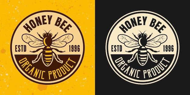 Ensemble d'abeilles à deux styles vectoriels emblème, insigne, étiquette ou logo sur fond jaune et foncé