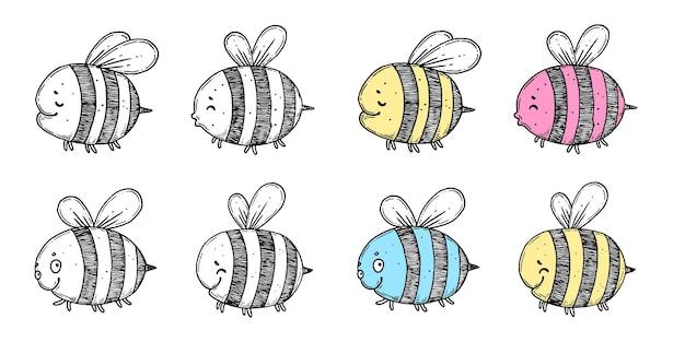 Ensemble d'abeilles de ligne d'encre dessinées à la main