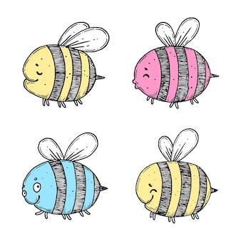 Ensemble D'abeilles De Ligne D'encre Dessinées à La Main Vecteur Premium