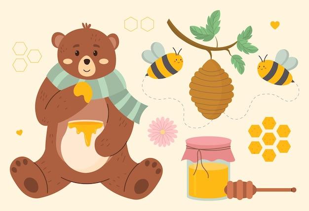Ensemble d'abeilles mignonnes savoureuses pots de miel sains ruche miel cuillère fleur ours nid d'abeille
