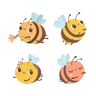 Ensemble d'abeilles mignonnes