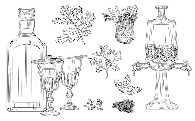 Ensemble d'absinthe. verre à cocktail et bouteille, cuillère, sucre, fontaine, absinthe, fenouil, persil, aneth, menthe, coriandre anis gravure sur glace style vintage