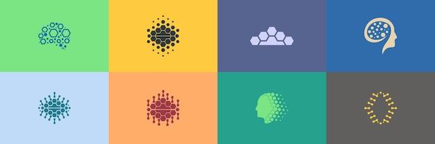 Ensemble abstrait de conceptions de logo en forme de cerveau