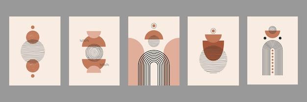 Ensemble abstrait moderne d'illustrations esthétiques avec des formes et des lignes d'équilibre géométrique. décoration murale dans un style bohème