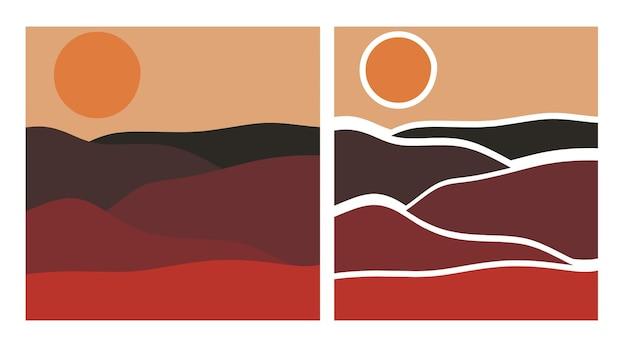 Ensemble abstrait de paysage désertique et de style de coupe de papier au coucher du soleil