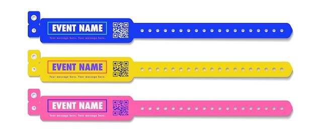 Ensemble d'accès à l'événement de bracelet de couleur différente pour la zone des fans d'identification ou le concert d'entrée de la soirée vip dans les coulisses