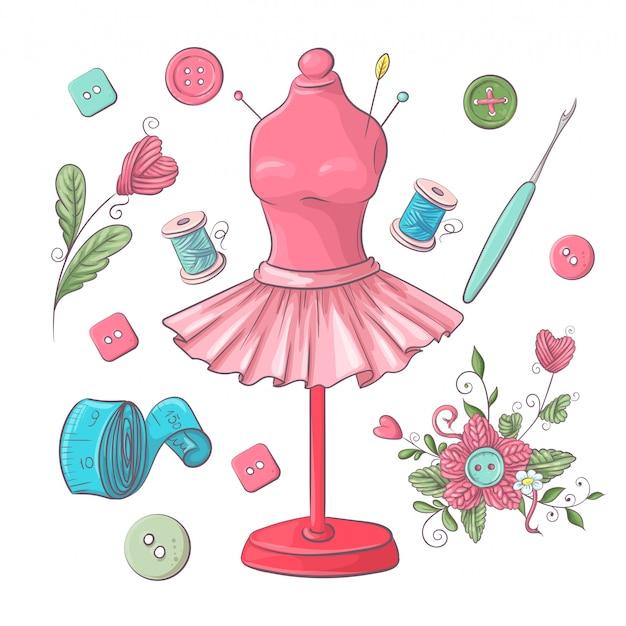 Ensemble d'accessoires de couture de mannequin. dessin à main levée.