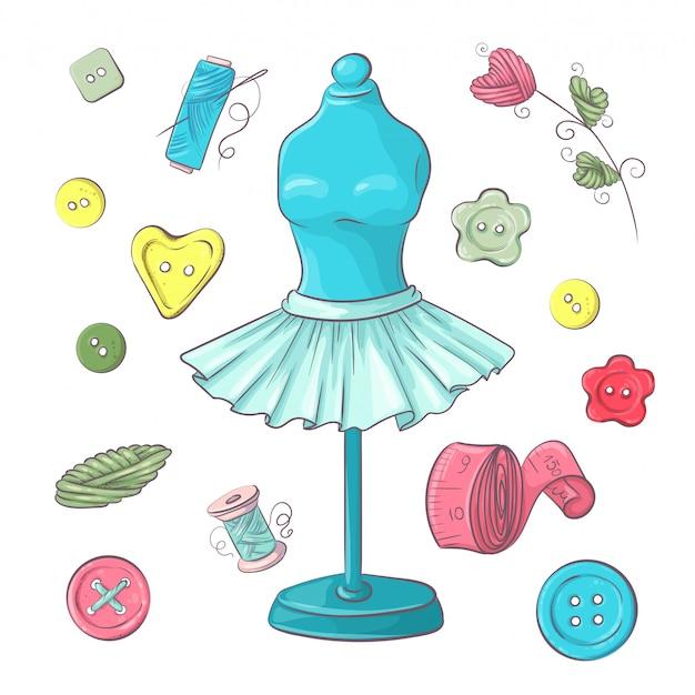 Ensemble d'accessoires de couture de mannequin.