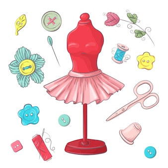 Ensemble d'accessoires de couture de mannequin