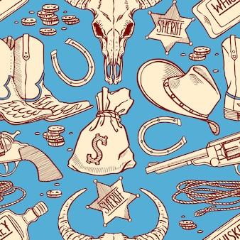 Ensemble d'accessoires de cowboy sans couture bleus et beiges mignons. illustration dessinée à la main