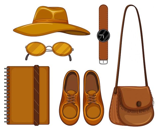Ensemble d'accessoires en cuir marron