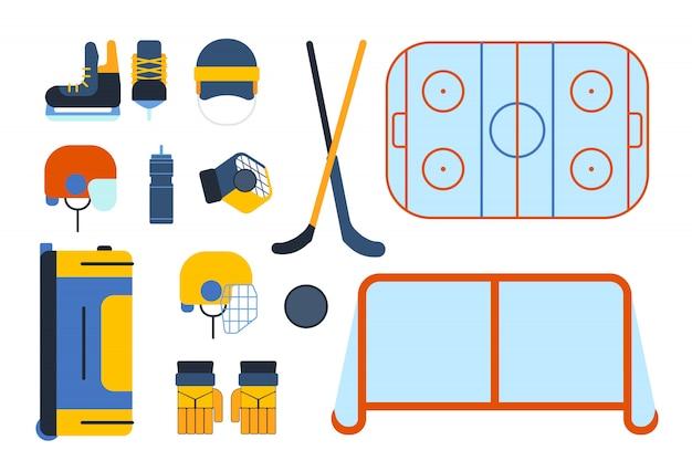 Ensemble et accessoires de hockey en style plat.