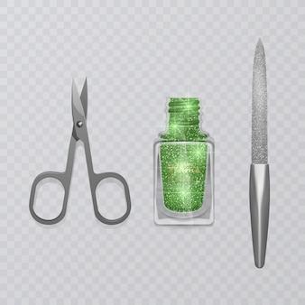 Ensemble d'accessoires de manucure, illustration de ciseaux de manucure