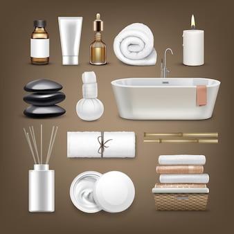 Ensemble d'accessoires de massage. bain, serviettes, huile, crème, pierres, compresse aux herbes, bâtonnets aromatiques, bougies, bambou.