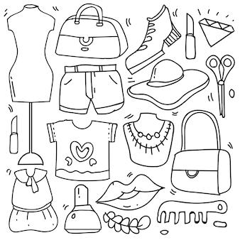 Ensemble d'accessoires de mode femme dans un style doodle isolé sur fond blanc, thème de vêtements de jeu dessinés à la main de vecteur. illustration vectorielle