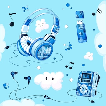 Ensemble d'accessoires musicaux. lecteur mp3, casques, casques sous vide, clé usb pour la musique
