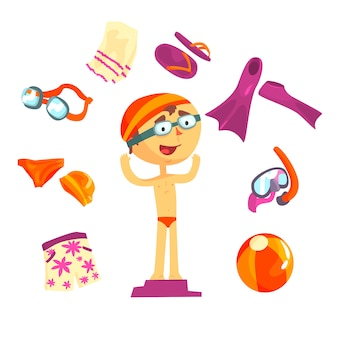 Ensemble d'accessoires de nageur et de plage pour la conception d'étiquettes.