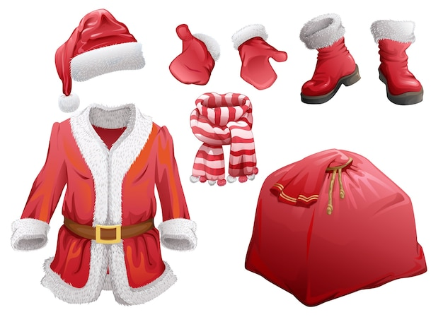 Ensemble d'accessoires de noël santa claus. manteau de fourrure, chapeau, bottes, mitaines, écharpe rayée et sac avec cadeaux. isolé sur blanc
