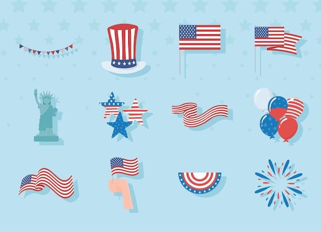 Ensemble D'accessoires Patriotiques Des états-unis Vecteur Premium