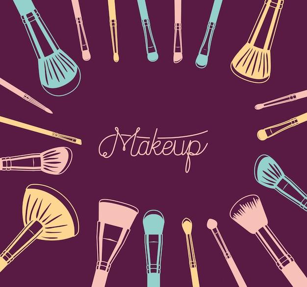 Ensemble d'accessoires pinceaux de maquillage autour