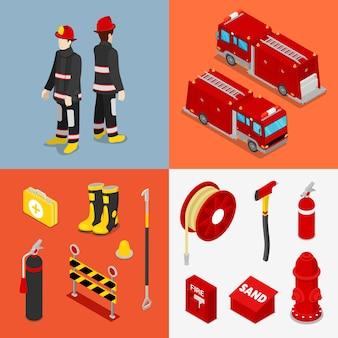 Ensemble d'accessoires pompier isométrique