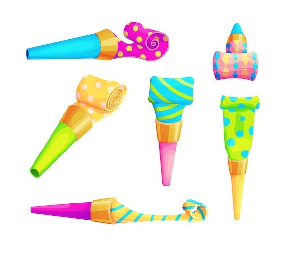 Ensemble d'accessoires de sifflet de fête d'anniversaire. collection de souffleurs de clown isolés.