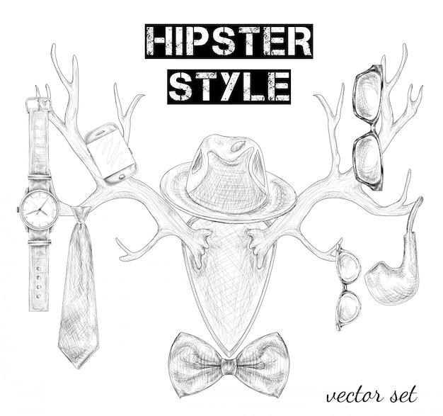 Ensemble d'accessoires de style hipster dessinés à la main
