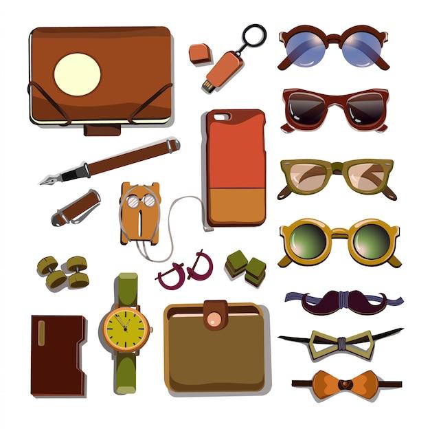 Ensemble d'accessoires tendance hipster