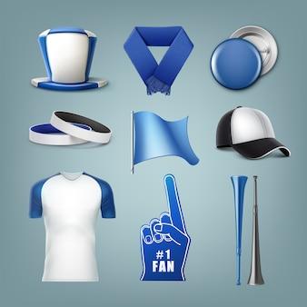 Ensemble d & # 39; accessoires de ventilateurs aux couleurs blanc et bleu