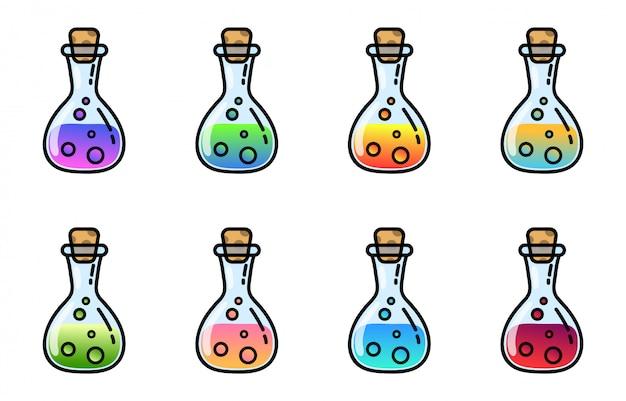 Ensemble d'actifs de jeu d'icône de bouteille de potion magique. pots de bouteille avec infusion colorée. collection d'alchimie de style plat