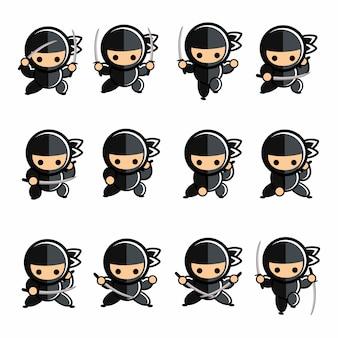 Ensemble d'action ninja noir petit dessin animé