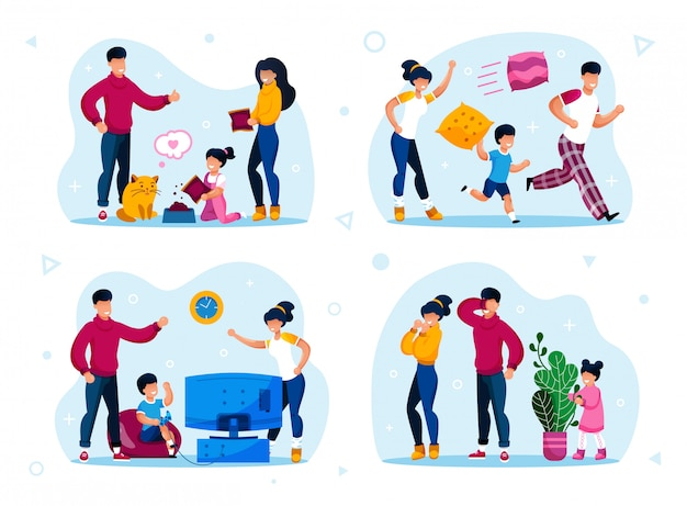 Ensemble d'activités familiales et de repos