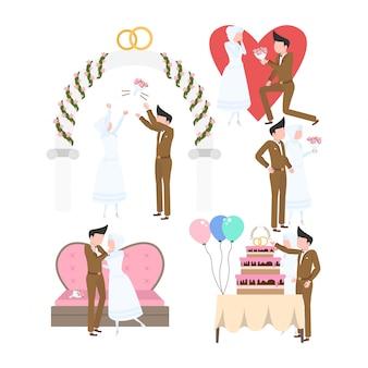 Ensemble d'activités fête de mariage