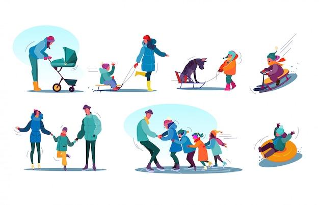 Ensemble d'activités d'hiver pour enfants et familles