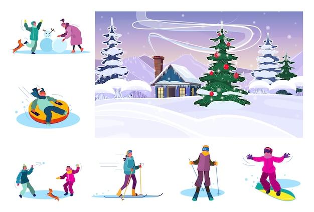 Ensemble d'activités hivernales