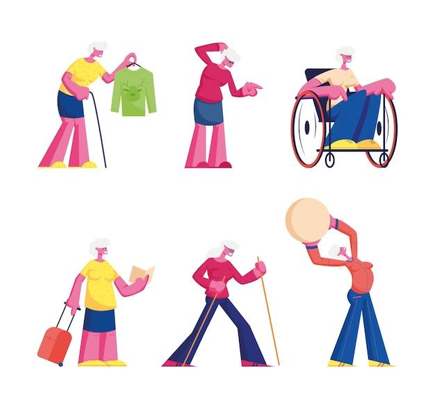 Ensemble d'activités ménagères. illustration plate de dessin animé