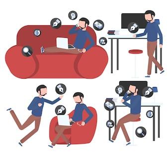 Ensemble d'activités permettant de créer du contenu pour les médias sociaux