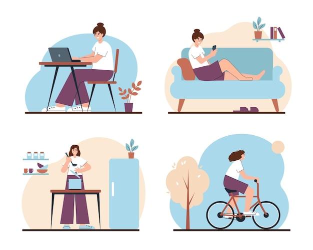 Ensemble d'activités quotidiennes et de loisirs de la femme style de vie heureux de caractère féminin