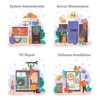 Ensemble d'administrateurs système. travail technique avec le serveur et sa maintenance de travail
