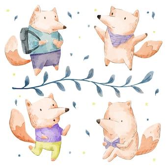 Ensemble d'adorables renard