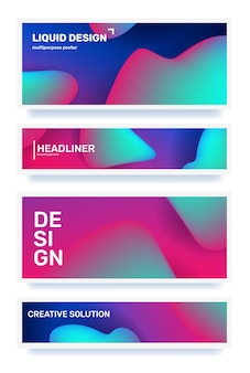 Ensemble d'affaires d'abstraction horizontale créative illustration de dégradé géométrique abstrait