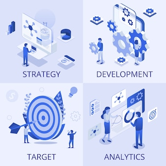 Ensemble d'affaires d'analyse de stratégie de développement
