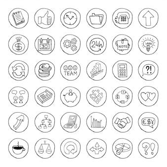 Ensemble d'affaires dessinés à la main des boutons.
